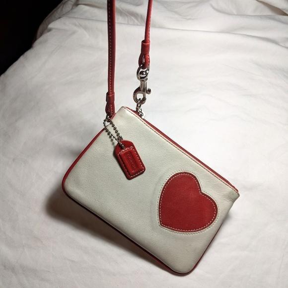 Coach Handbags - Coach change purse white red heart leather
